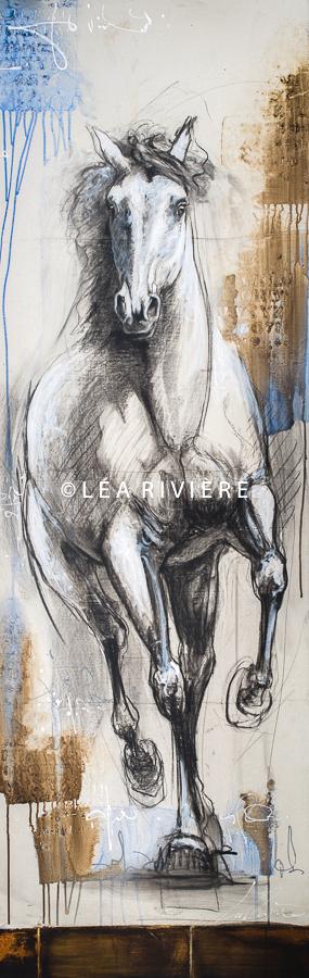 """©LéaRivière «La présence de l'attentif» 72""""x24"""" 182cmx60cm"""
