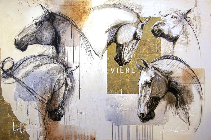 """©LéaRivière «Au milieu et coeur battant» 56""""x84"""" 142cmx213cm vendu-sold"""