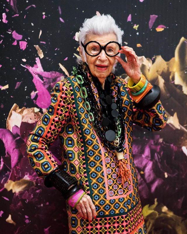 Oh hi @iris.apfel! 👓♥️ We can only dream to be as cool as you someday. Thanks for joining us on day 1 of the show! #Fameshow @ubm_fashion #IrisApfel
