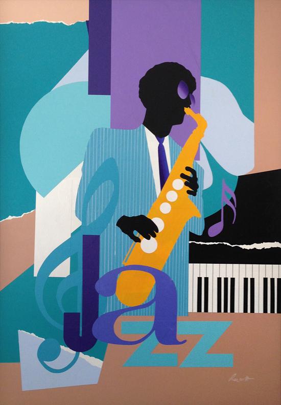 "Funk Mood: 46"" x 33"", collage on panel.(framed)"