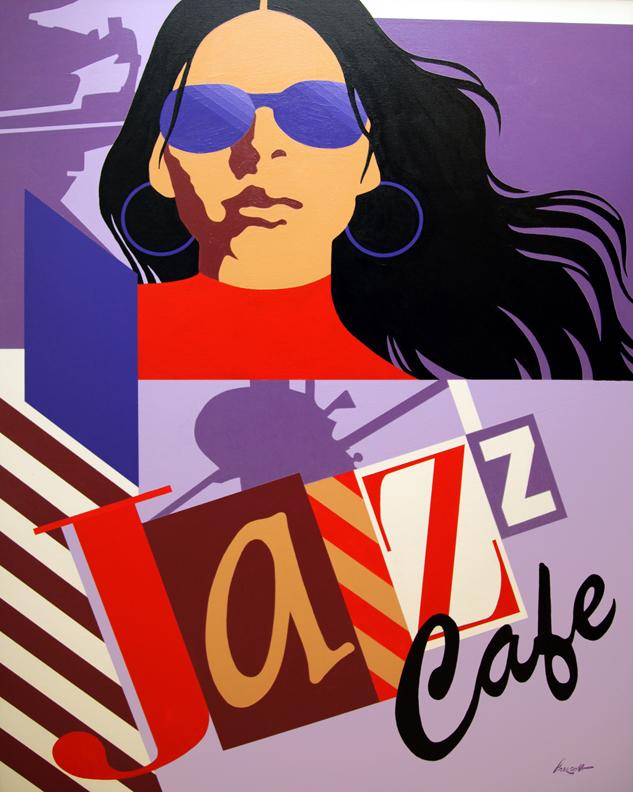 "Jazz Cafe: 48"" x 36"", acrylic on canvas.(unframed)"