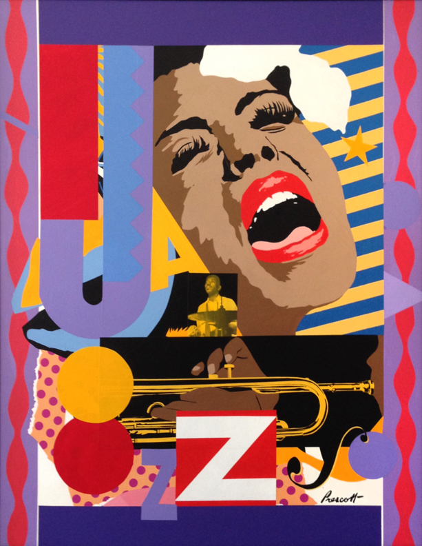 "Blues for Billie: 40"" x 32"", collage on panel.(framed)"