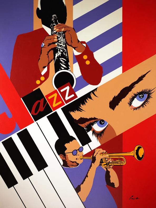 "Downbeat: 48"" x 36"", acrylic on canvas.(unframed)"