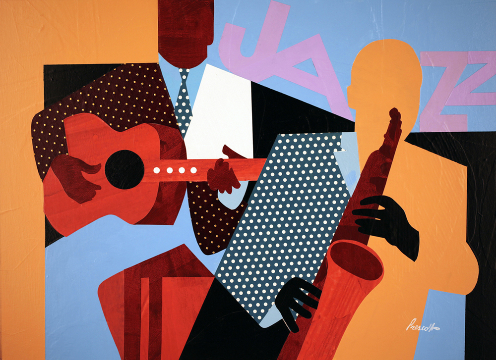 """Two Musicians:  22"""" x 30"""", collage on ragboard.(unframed)"""