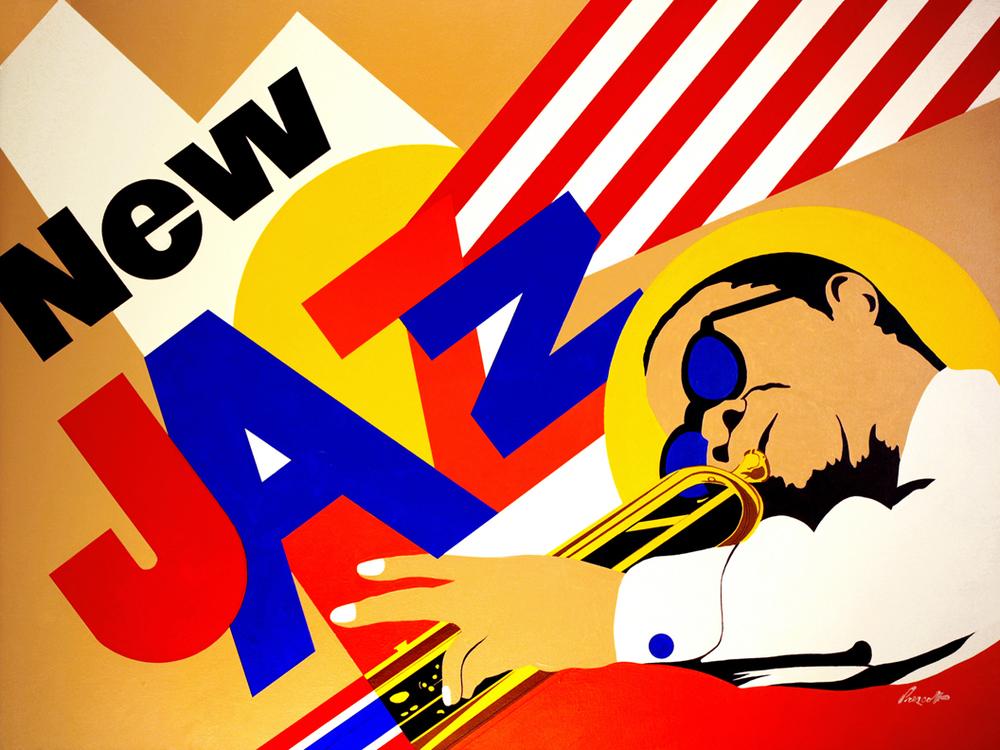 "New Jazz: 36"" x 48"", acrylic on canvas.(unframed)"