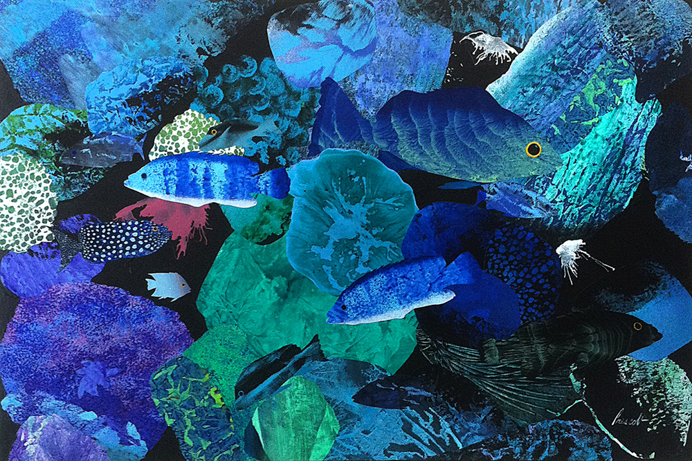 "Planet Ocean:   24"" x 36"", collage on canvas,  $1600 CDN  (unframed)     Purchase Information"