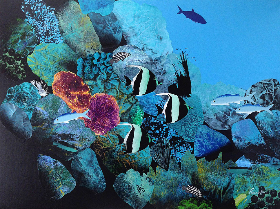 "Crystal Waters:    30"" x 40"", collage on canvas,  $1700 CDN  (unframed)     Purchase Information"