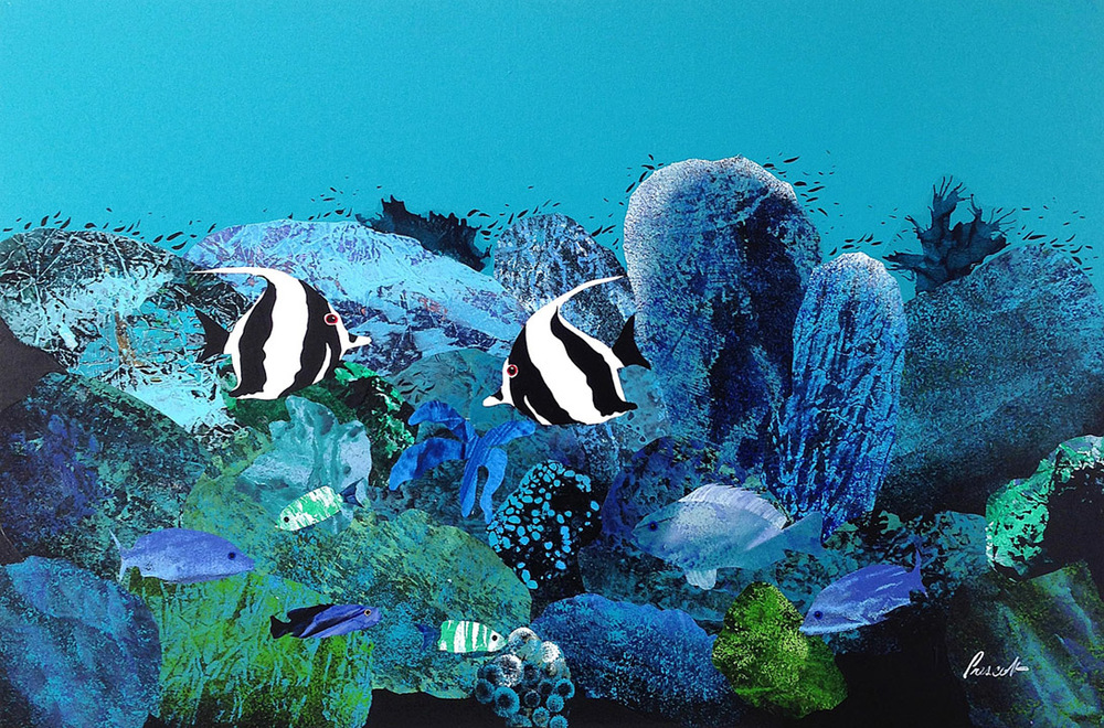 "Atoll:    24"" x 36"", collage on canvas,  $1600 CDN  (unframed)     Purchase Information"