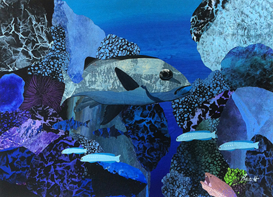 "Reef Boss  23"" x 31"", collage on ragboard $1400 CDN"