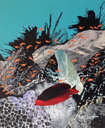 "Habitat  10"" x 8"", collage on panel $350 CDN (framed)"