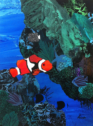 "Nemo's Realm  31"" x 23"", collage on 4 ply ragboard $1400 CDN"