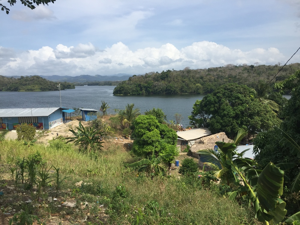 View from  Akua-Yala to the lake which is often a source of water for the community.