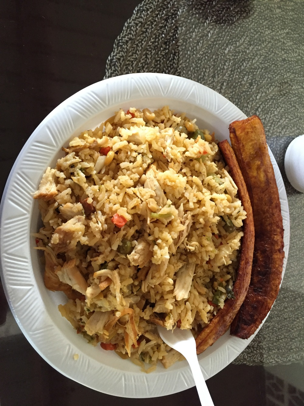 Delicious arroz con pollo and bananas prepared by Sugey after our work day!