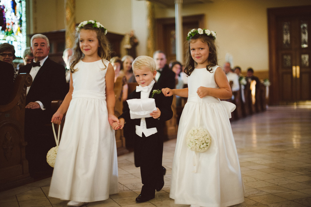 Ring bearer and flower girls with halos and palmanders