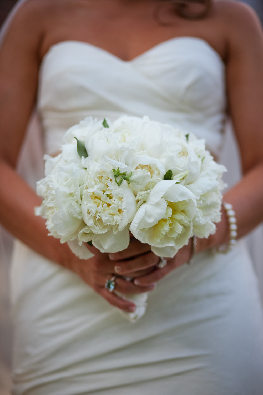 All-white peony bride bouquet inspiration