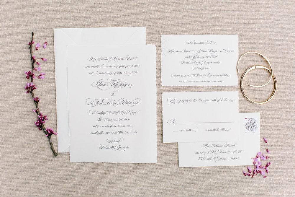 Custom letterpress wedding invitation Augusta, GA