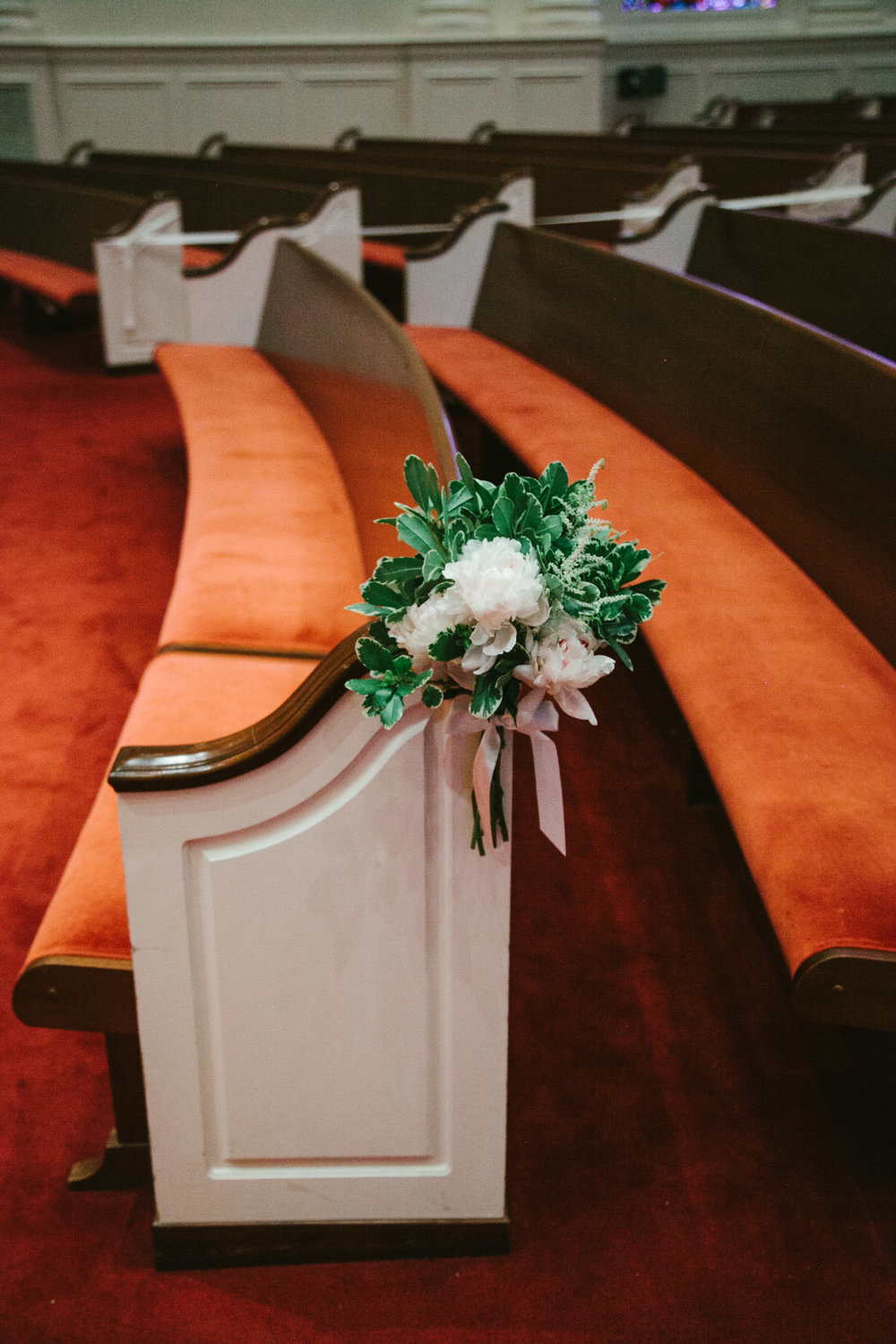 Pew marker at First Baptist Church