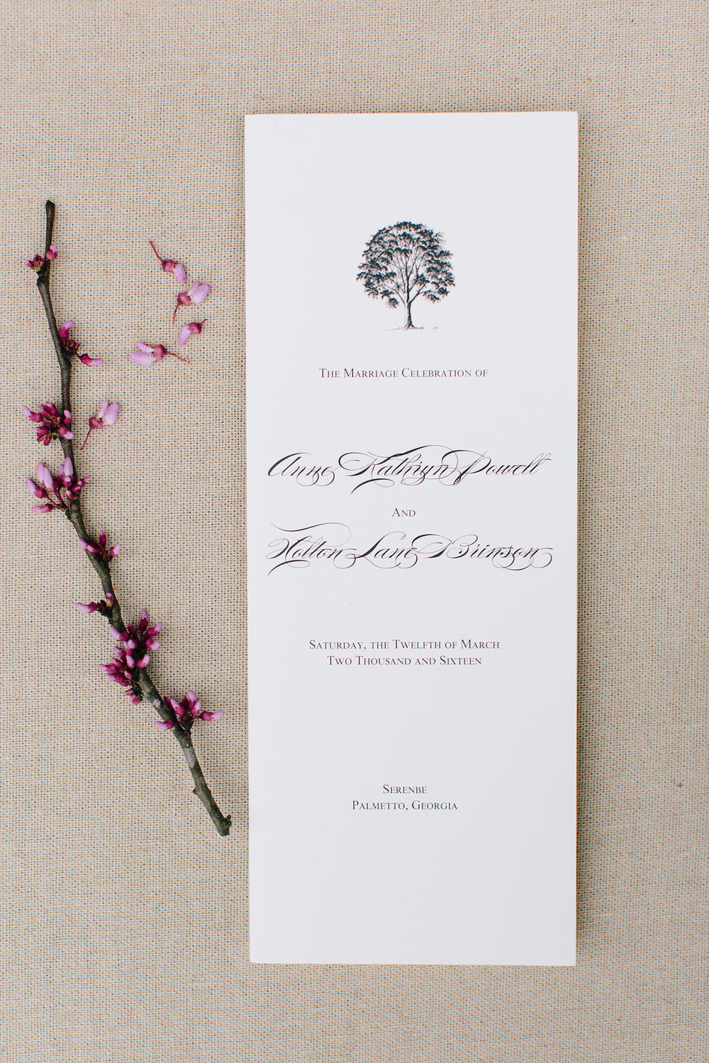 Custom wedding ceremony program in Augusta, GA