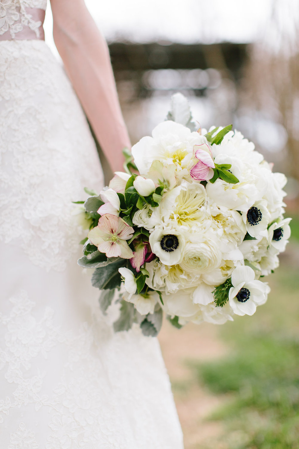 Featured floral: hellebores, ranuculus, anenomes, peonies, dusty miller, lisanthus - Anne + Holton, Inn at Serenbe, Lauren Carnes Photography