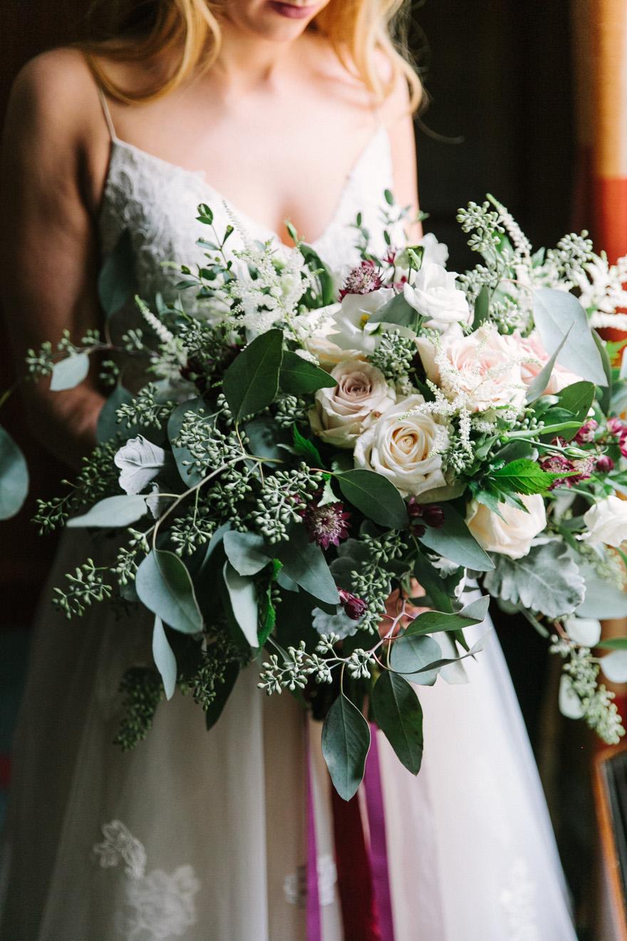 featured floral:seeded eucaplyptus, roses, lisianthus, astillbe, scabiosa - Hannah + Rafy, Richmond on Greene, Mark William Studio Photography