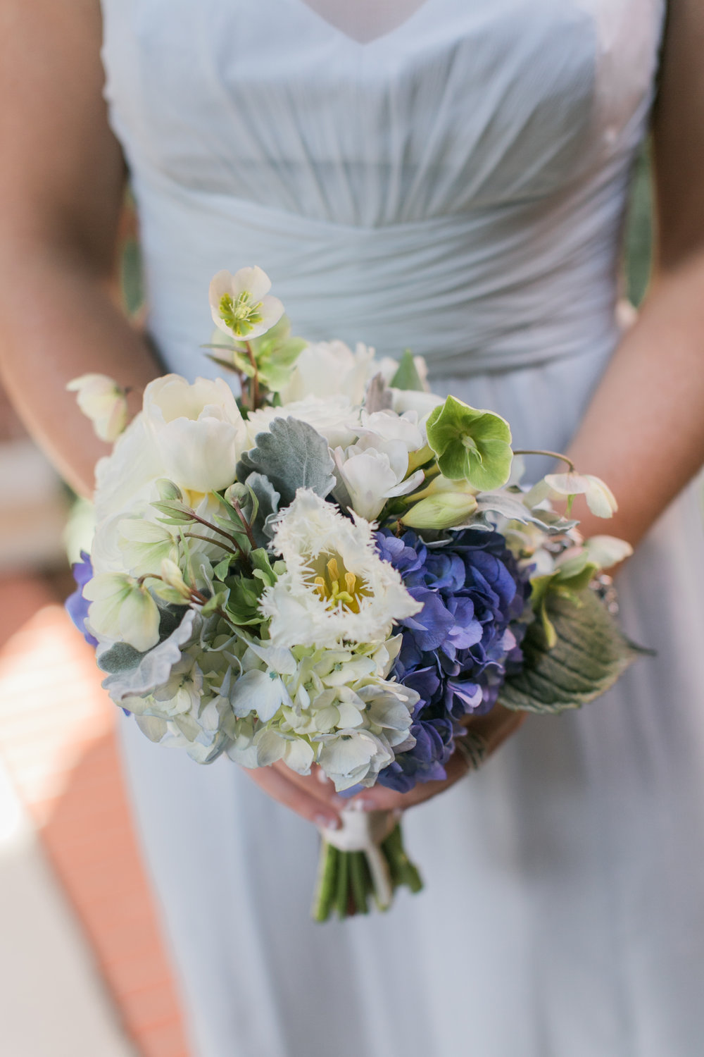 whimsical maids bouquet - Featured floral: dusty miller, hellebores, hydrangea, tulips