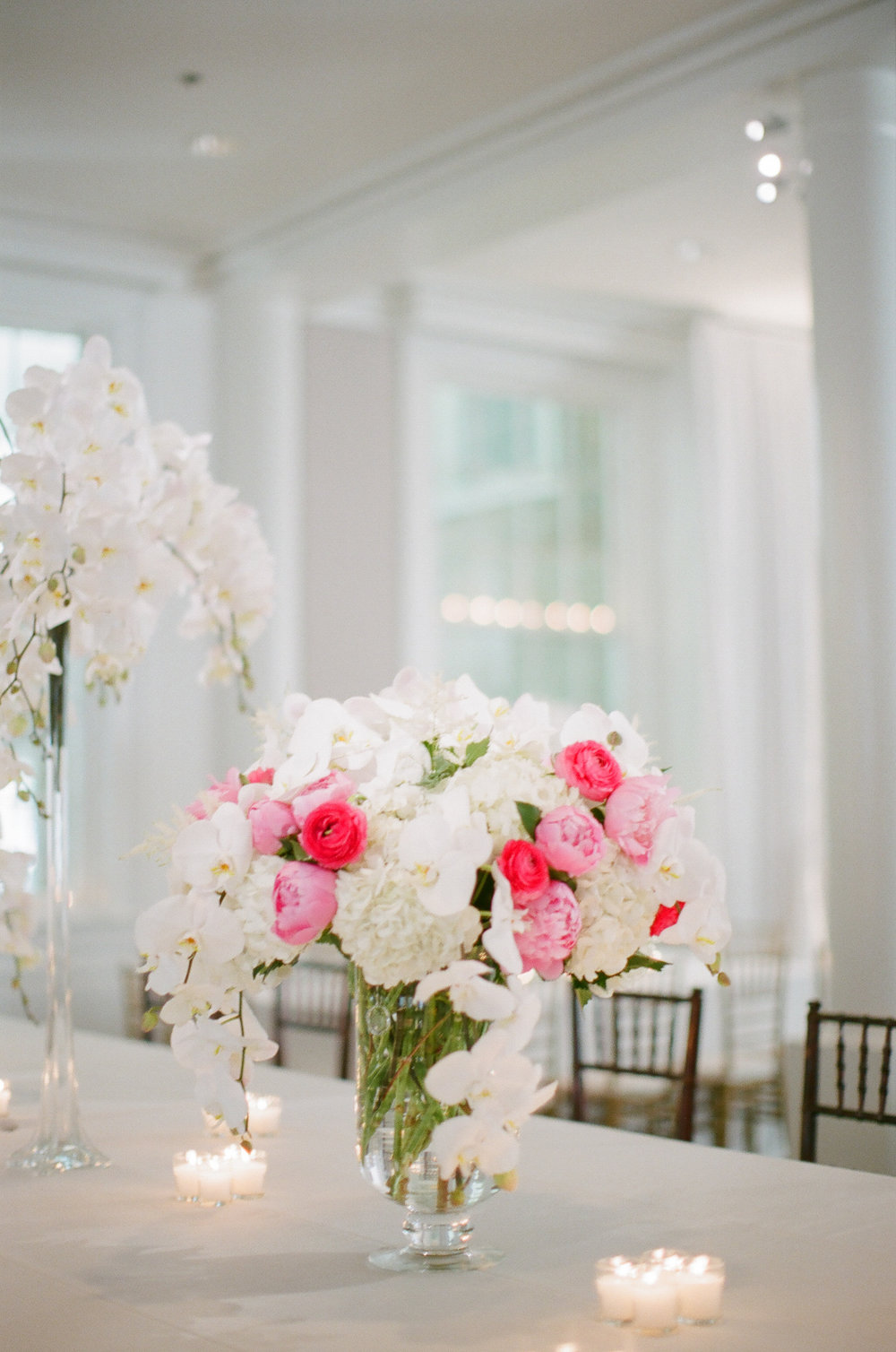 Pops of pink - Featured floral: orchids, hydrangea, ranculus, peonies