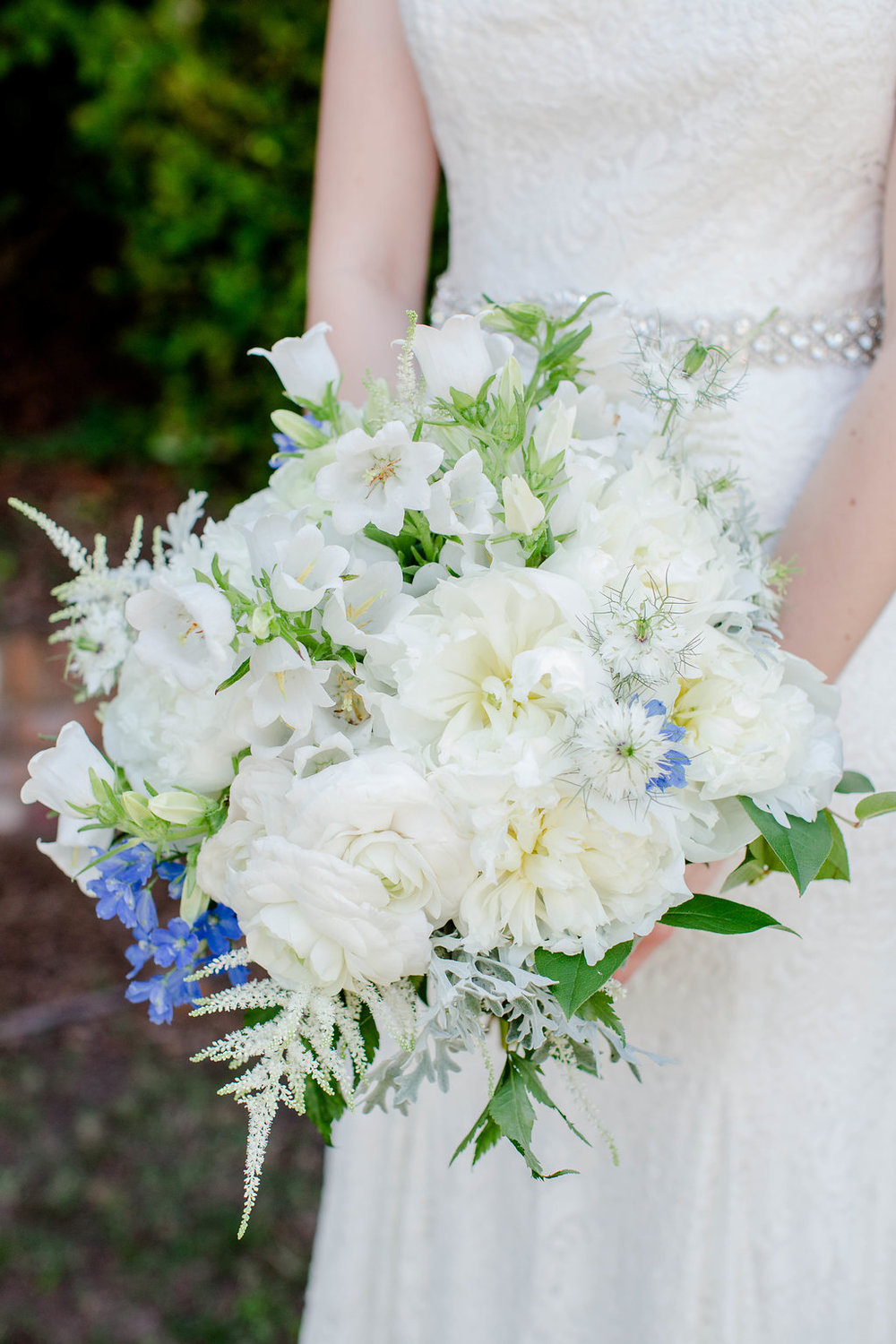 For a gathered look - peonies+ranunculus+bell flowers+scabiosa+forget me nots+dusty miller+astillbe