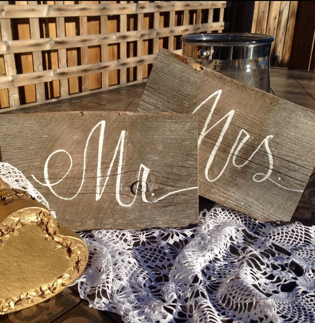 Rustic Bride and Groom Chair signs . $10/weekend