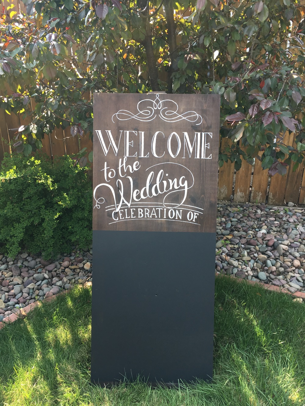 A-Frame Welcome Sign. $50/weekend                        Includes custom chalk art on bottom half.