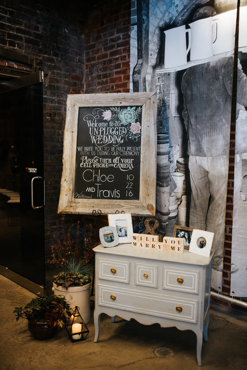 You can have Weatherwood Events design a custom chalk art sign to   rent  (click here to be directed to our rental page)for your event, here we highlighted the succulents that were a love of the bride's and seen throughout the venue.