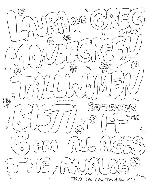Excited to play in Portland, OR this Wednesday (9/14) 6pm doors// ALL AGES with @mondegreenmusic @tallwomenmusic + Bisti #portland #lauraandgreg