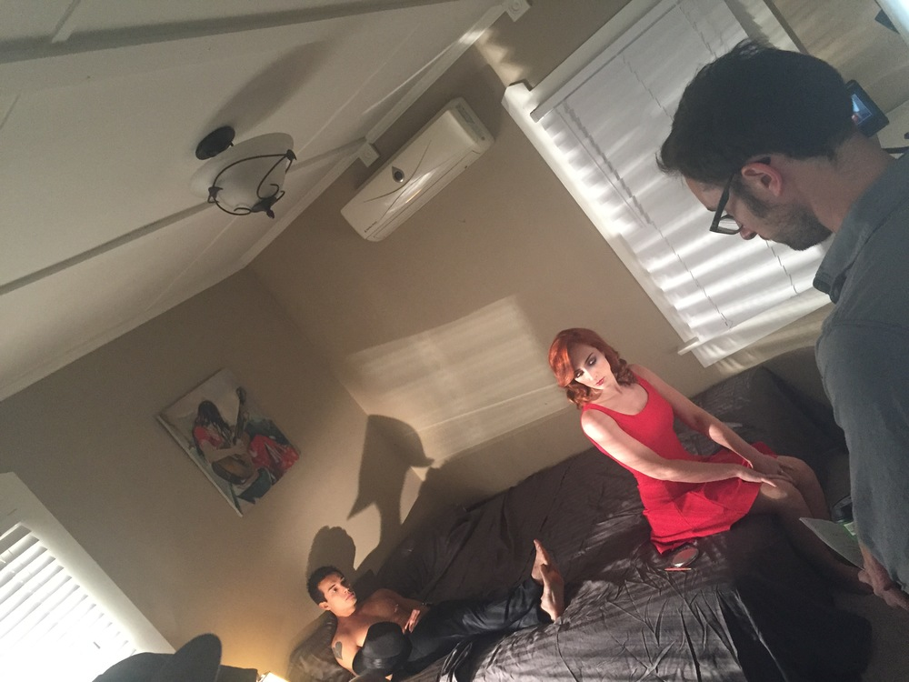 Director and Producer, Matt Mercer, reviews the set up for the bedroom scene between lead actor, Najarra Townsend, and supporting actor, John Paul Romeo.