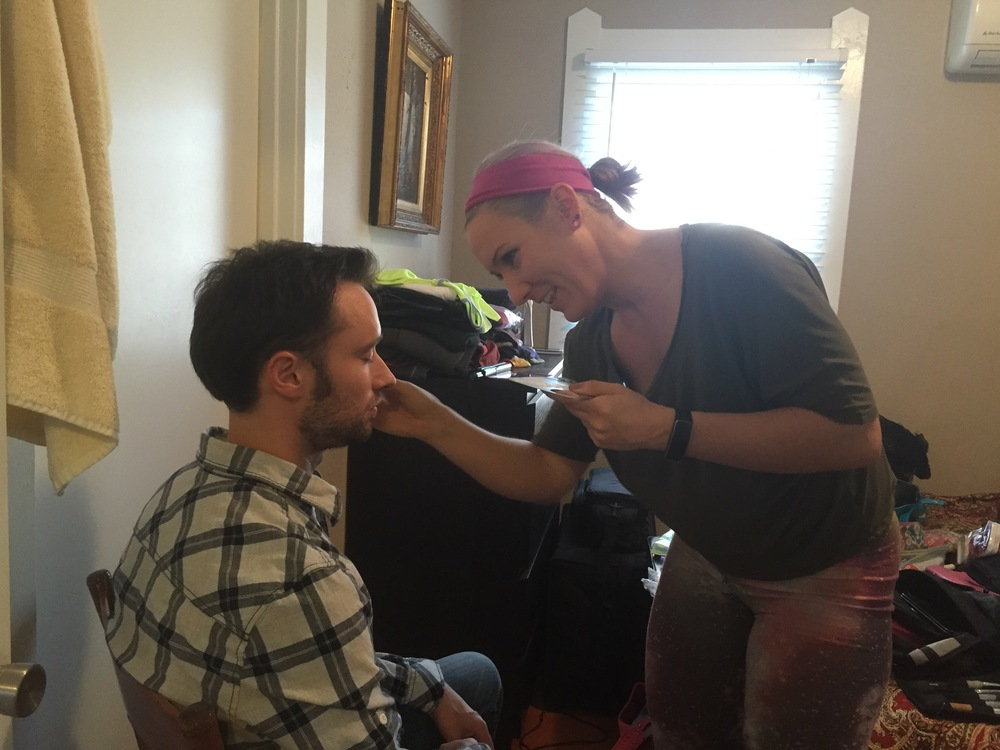 Key Make Up Artist Mariah Kraft preps Lead Actor Matt Mercer for his first scene.