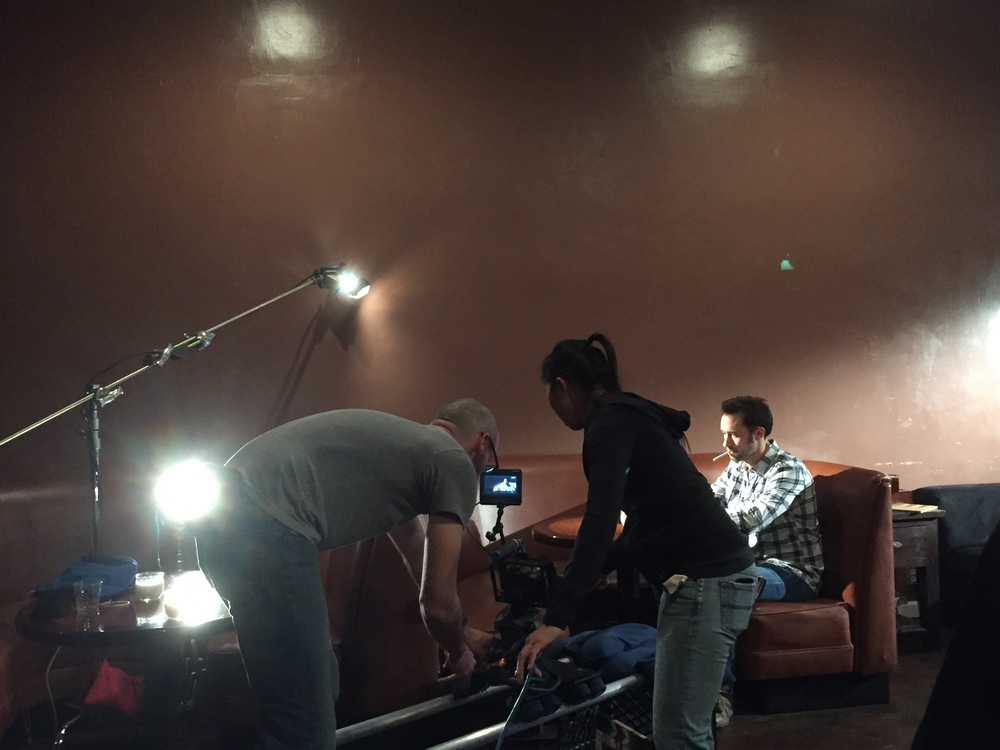 Cinematographer Patrick McGinley and Assistant Camera Operator Natalie Fong set up the opening dolly shot.