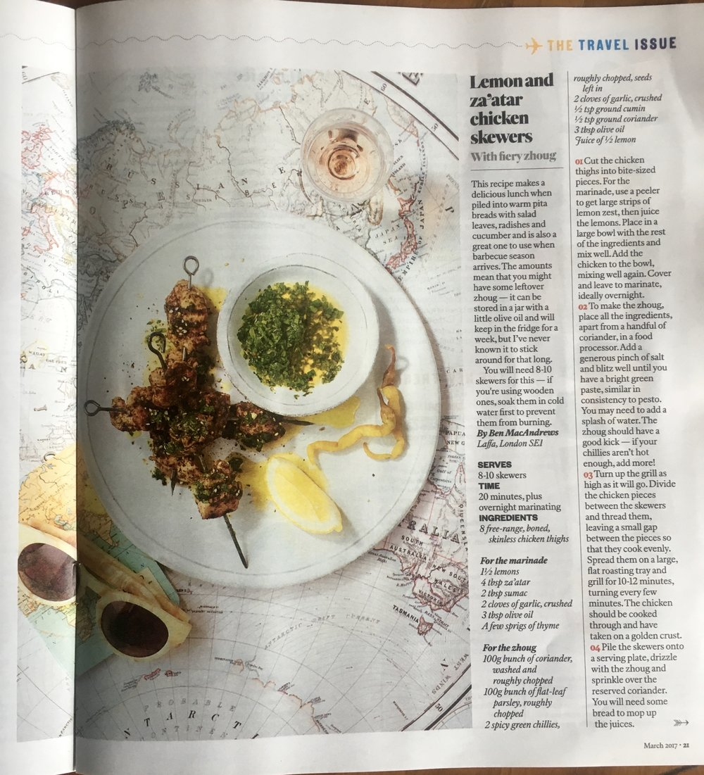 Laffa's recipe in the Sunday Times magazine - try it at home!