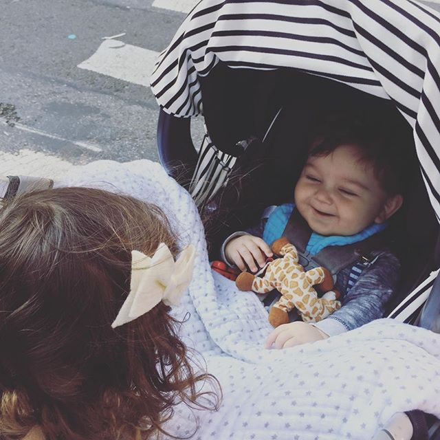 It's a good thing we got in a nice walk before our first snow of the season! #carseatcover #perfectpuckerbow #nyckids #bohobaby #bestfriends #uppababymesa