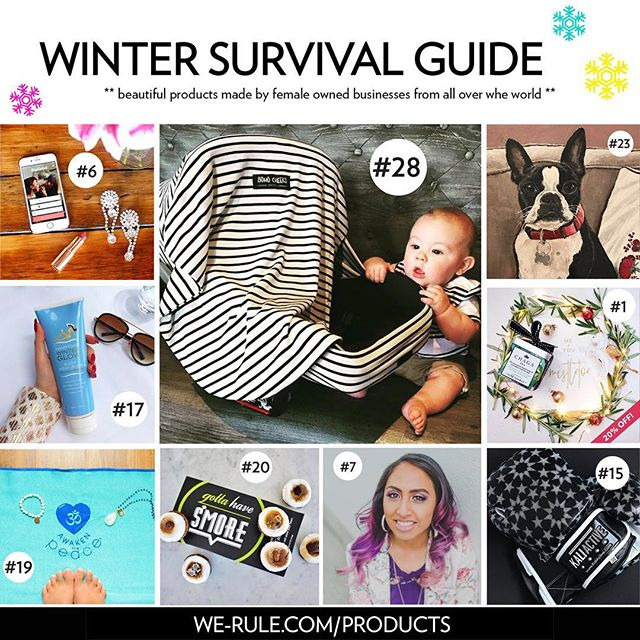 So happy to be featured in the @_we.rule // @dreamersdoers holiday gift guide! This gift guide full of amazing, unique pieces and services all while supporting and promoting female entrepreneurs. It doesn't get much better than that! #werulenyc #businesswoman #babyproducts #holidayshopping #giftguide #carseatcover #babygifts  Use code WERULE10 to save 10%! Happy shopping! We-rule.com/winter-survival-guide