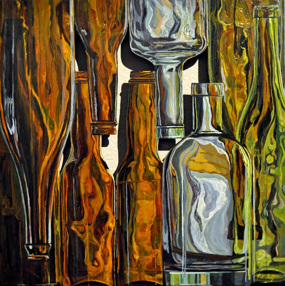 """Hanging Bottles: Street View""  12 X 12"