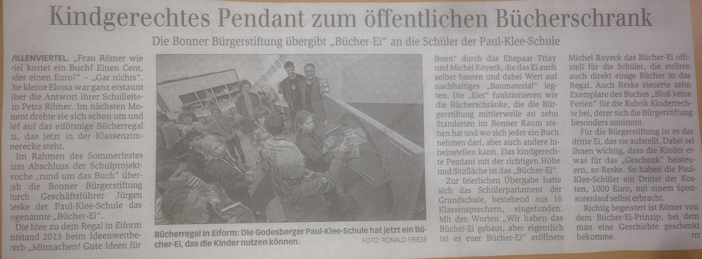 Bericht aus dem   Bonner General-Anzeiger vom 22.06.2015   zur Einweihung des BücherEis an der Paul-Klee-Schule.