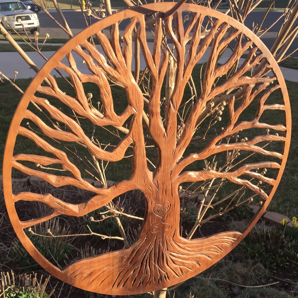 Hand Carved Wall Art Tree