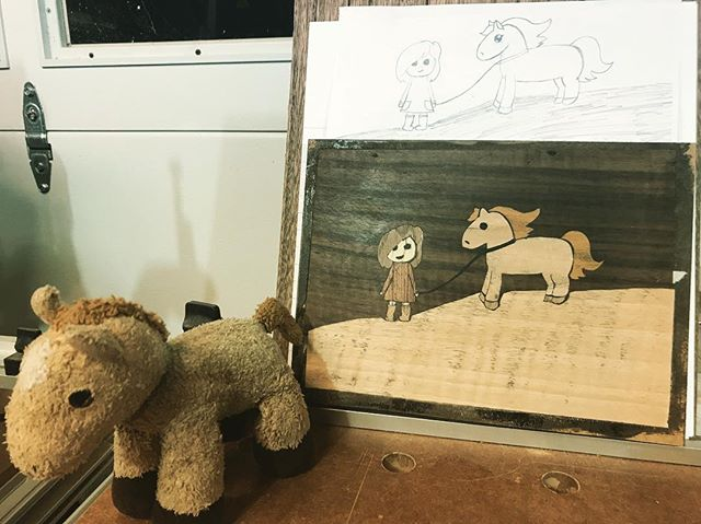 Of all the toys my #daughter owns, this little stuffed #horse is the most important.  As an homage to her #childhood friend, I turned them into a cartoon and made them a permanent feature in her to-be-built desk (via #marquetry panel). Thankfully there were quite a few helpful video's on youtube to assist me with my drawing!  Now to build the rest of the desk around this panel. #woodworking