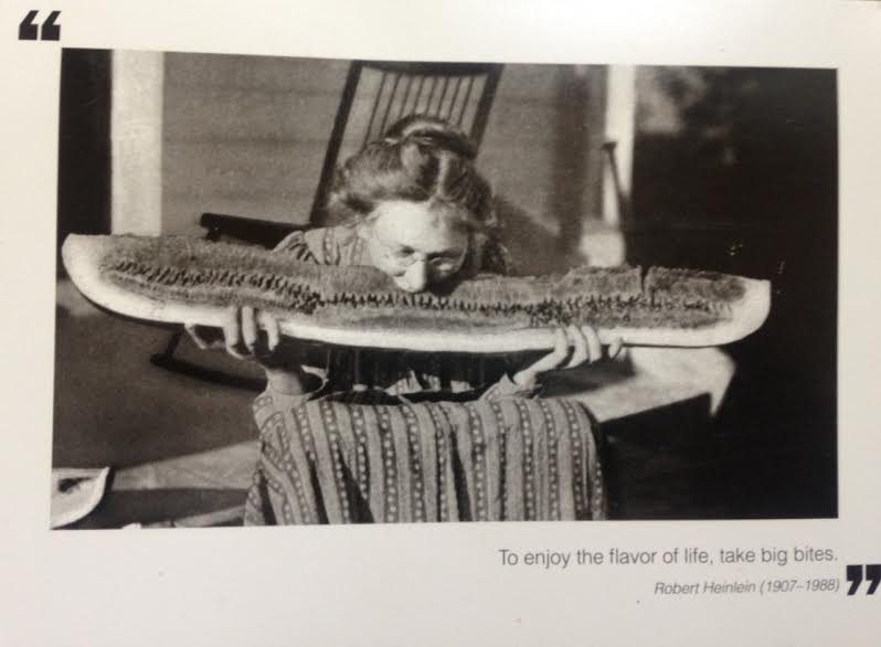 This is a card Laura sent Kim, that she keeps in her office, to encourage her to keep chewing harder.