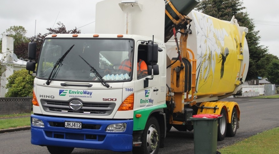 A recycling truck in New Plymouth