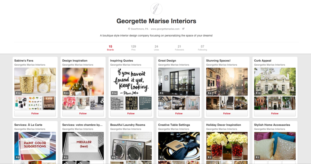 Use  Pinterest  as a tool for finding inspiration. Don't forget to follow me @Georgettemarise!