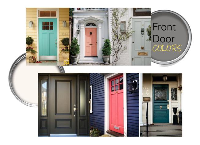 Front door paint colors from HGTV.com &Pinterest.com