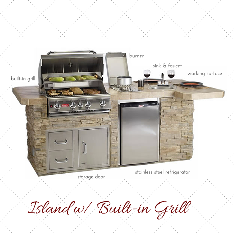 using an island with a built-in Grill allows you to cook and still socialize with your guests. island: woodland direct