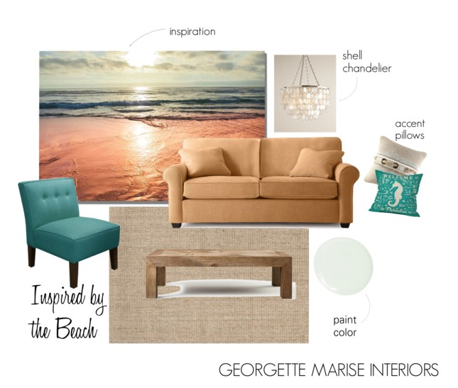 Beach themed mood board