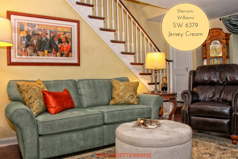I used a mixture of light, medium and dark colors to create a well balanced color palette. Paint: SW 6379 Jersey Cream