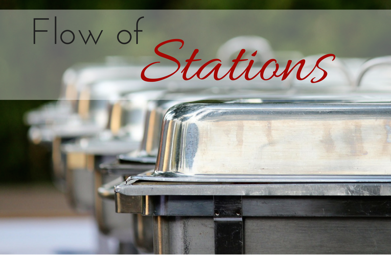 Having a flow of stations will create transition to your dinner.