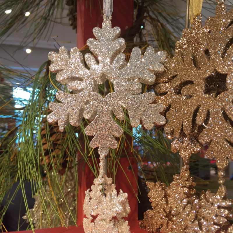 "soft glitter SNOWFLAKE  ornaments make a great ""shatterproof"" options if you have little ones."
